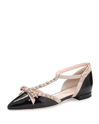 Kate Spade Becca Jeweled T Strap Ballerina Flat Black Powder Women's