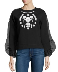 Marchesa Voyage Embroidered Ruffled Detail Sweater Black