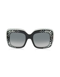 Gucci Gg 3862 S Yl1vk Black Acetate Oversized Square Frame Women's Sunglasses W Rhinestone Details