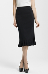 Ming Wang Ruffle Hem Knit Midi Skirt Black