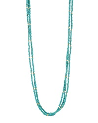 Nakamol Long Beaded Crystal Three Strand Necklace Turquoise