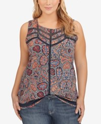 Lucky Brand Plus Size Printed Open Stitched Tank Top Orange