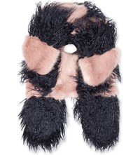 Shrimps Marine Faux Fur Scarf Navy And Rose