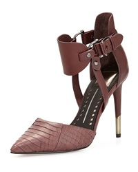 Dolce Vita Knoxx Leather And Snakeskin Ankle Wrap Pump Bordeaux