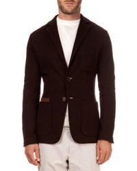 Berluti Pique Jacket With Suede Pocket Espresso