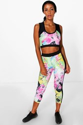 Boohoo Bright Dye Print Legging Multi