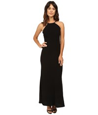 Calvin Klein Halter Neck Back Less Gown Cd6b1850 Black Women's Dress