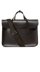 The Cambridge Satchel Company Stamped Croc Large Folio Briefcase Dark Brown