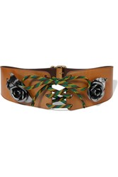 Prada Embellished Lace Up Leather Waist Belt Tan