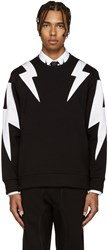 Neil Barrett Black And White Thunderbolt Pullover