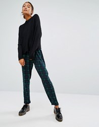 Monki Check Peg Trouser Blue