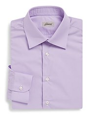 Brioni Solid Cotton Dress Shirt Light Purple