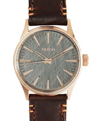 Nixon Pink Gold Sentry 38 Watch Brown Horween Leather Strap
