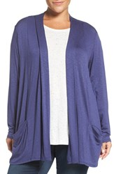 Sejour Plus Size Women's Slub Knit Open Front Cardigan Navy Patriot