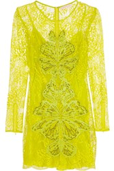 Matthew Williamson Embellished Lace Mini Dress Yellow