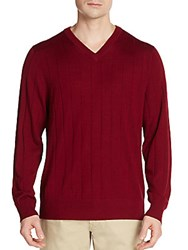Tailorbyrd Wool V Neck Sweater Bordeaux