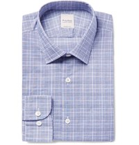 Hardy Amies Prince Of Wales Checked Cotton Shirt Blue