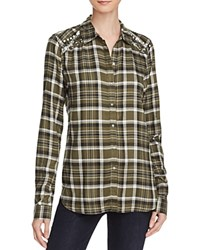 Aqua Embellished Plaid Shirt Pyrite