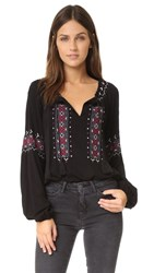Cupcakes And Cashmere Nicki Embroidered Long Sleeve Top Black