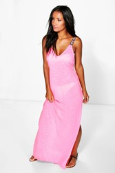 Boohoo Embroidered Strap Maxi Beach Dress Pink