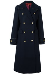 Tommy Hilfiger Long Double Breasted Coat Blue