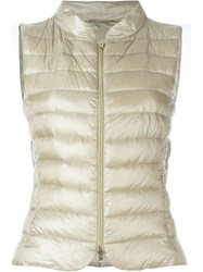 Herno Zipped Puffer Gilet Nude And Neutrals