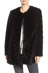 Sam Edelman Women's Tiered Faux Fur Topper Black