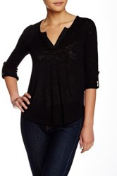 Gibson 3 4 Length Sleeve Split Neck Blouse Petite Black