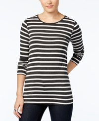 G.H. Bass And Co. Striped Long Sleeve Top Heather Charcoal Combo