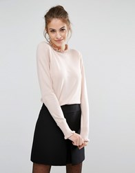 Oasis Frill Neck Jumper Blush Pink