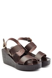 Ancient Greek Sandals Leather Wedge Sandals Brown