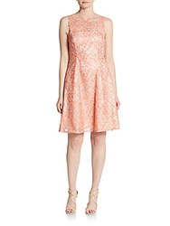 Aidan Mattox Lace Fit And Flare Dress Peach