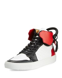 Buscemi 110Mm Men's Leather High Top Sneaker Black White Red