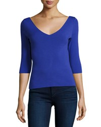 Milly Claire 3 4 Sleeve V Neck Knit Top Cobalt