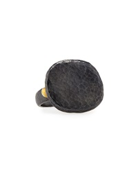 Gurhan Hammered Blackened Sterling Silver Pebble Ring Size 6.5