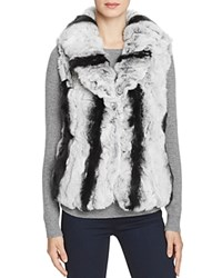 Surell Rabbit Fur Vest With Collar Chinchilla