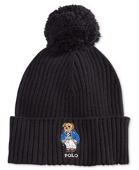 Polo Ralph Lauren Men's Ski Bear Pom Pom Hat Black Ski Bear