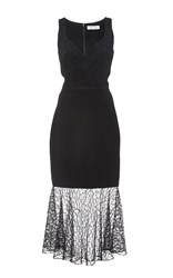 Prabal Gurung Embroidered Lace Combo Sweetheart Sheath Dress Black