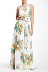 Gracia Printed Halter Neck Maxi Dress Beige