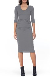 Michael Stars Women's Side Ruched Midi Dress Galvanized