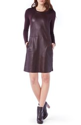 Michael Stars Women's A Line Leather And Knit Dress Port