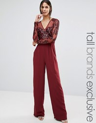 Maya Tall Long Sleeve Jumpsuit With Mesh And Embellished Top Detail Wine Red