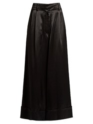 Loewe Wide Leg Cropped Satin Trousers Black