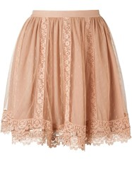Red Valentino Lace Mini Skirt Nude And Neutrals