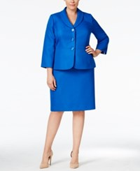 Le Suit Plus Size Three Button Skirt Suit Blue