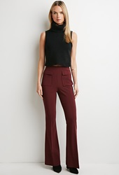 Forever 21 Contemporary Flap Pocket Flared Pants Burgundy