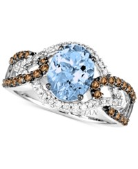 Le Vian Chocolatier Aquamarine 1 3 8 Ct. T.W. And Diamond 1 2 Ct. T.W. Ring In 14K White Gold