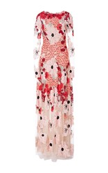 Naeem Khan Long Sleeve Floral Embroidered And Bead Gown Pink Red Black