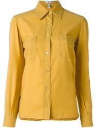 Celine Vintage Chest Pocket Shirt Yellow And Orange