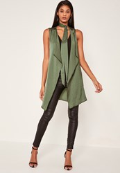 Missguided Khaki Waterfall Tie Neck Sleeveless Waistcoat